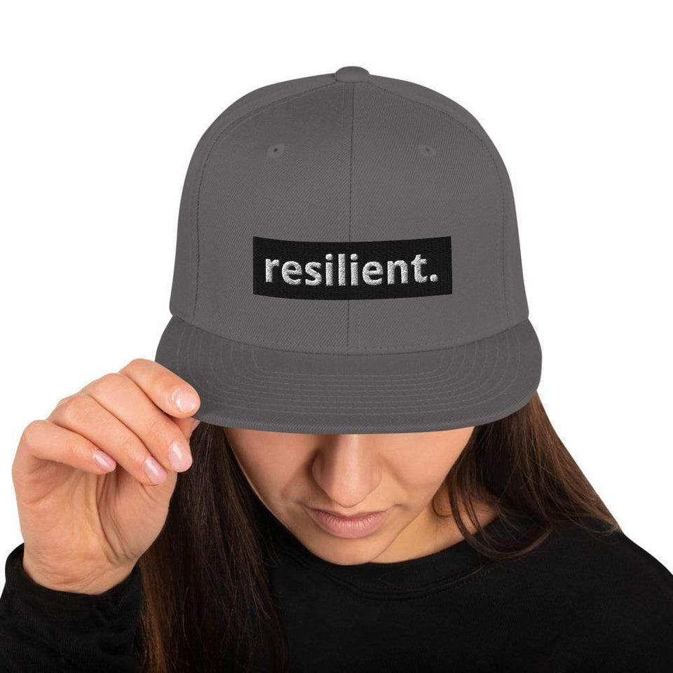 Resilient Snapback Hat Dark Grey Political-Activist-Socialist-Fashion -Art-And-Design