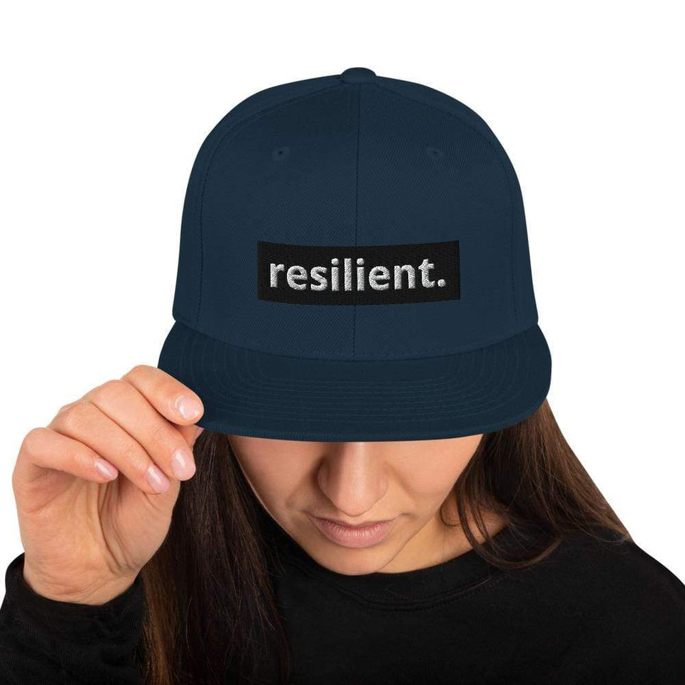 Resilient Snapback Hat Dark Navy Political-Activist-Socialist-Fashion -Art-And-Design
