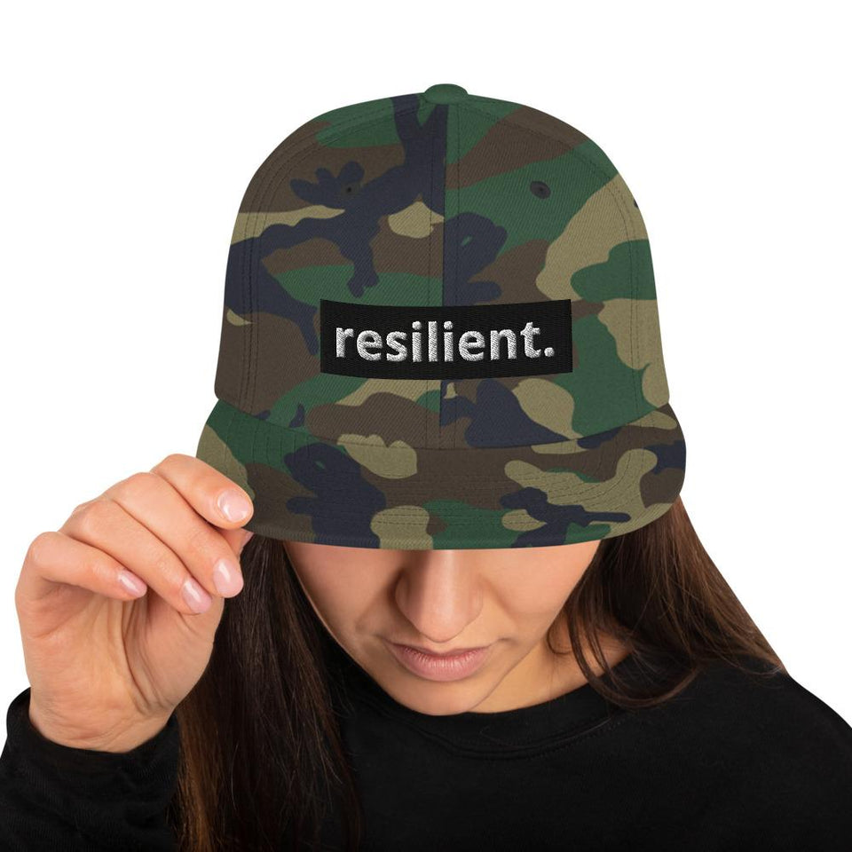 Resilient Snapback Hat Green Camo Political-Activist-Socialist-Fashion -Art-And-Design