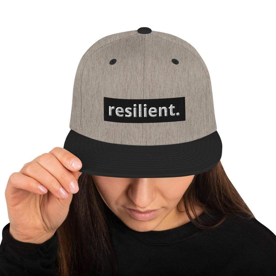 Resilient Snapback Hat Heather/Black Political-Activist-Socialist-Fashion -Art-And-Design