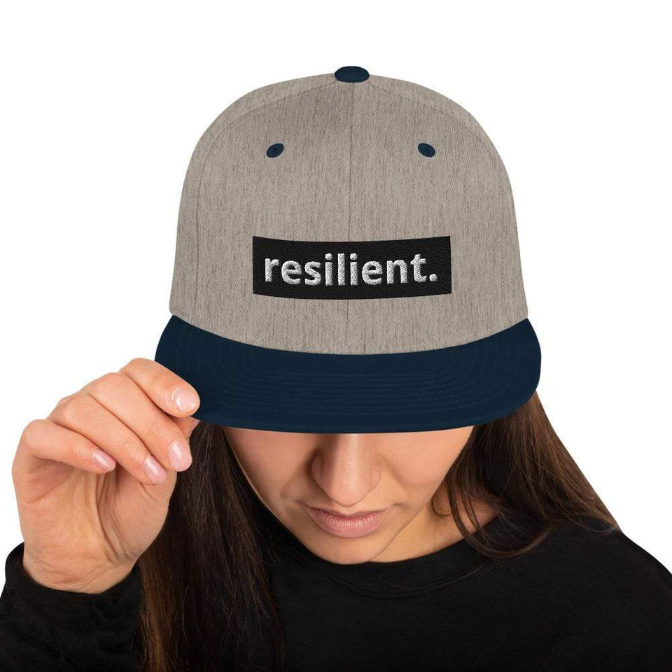 Resilient Snapback Hat Heather Grey/ Navy Political-Activist-Socialist-Fashion -Art-And-Design