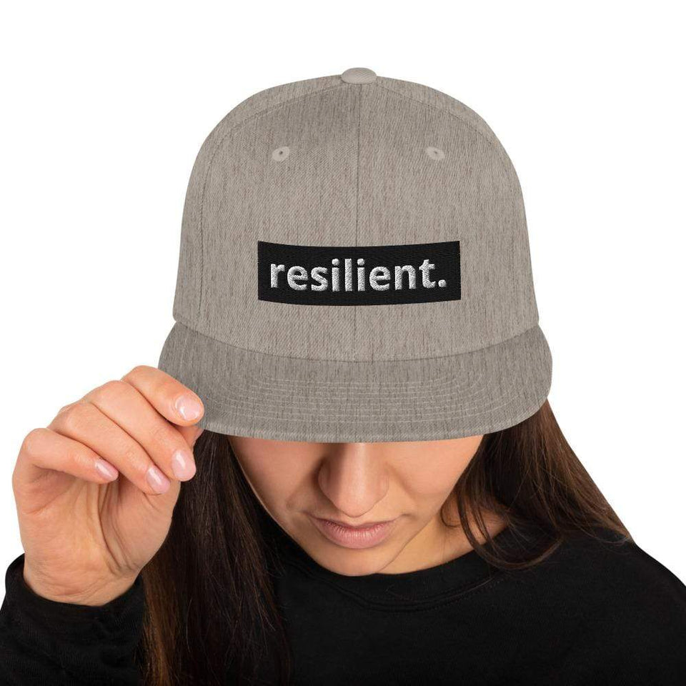 Resilient Snapback Hat Heather Grey Political-Activist-Socialist-Fashion -Art-And-Design