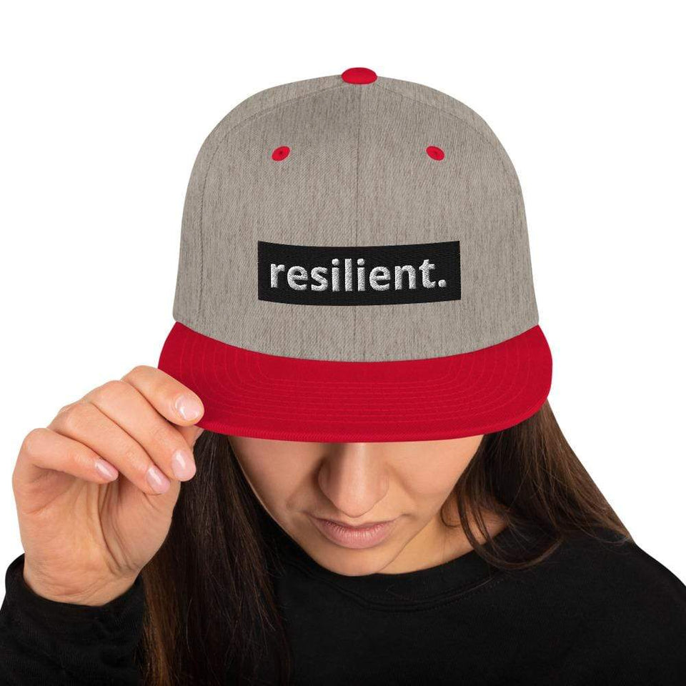 Resilient Snapback Hat Heather Grey/ Red Political-Activist-Socialist-Fashion -Art-And-Design