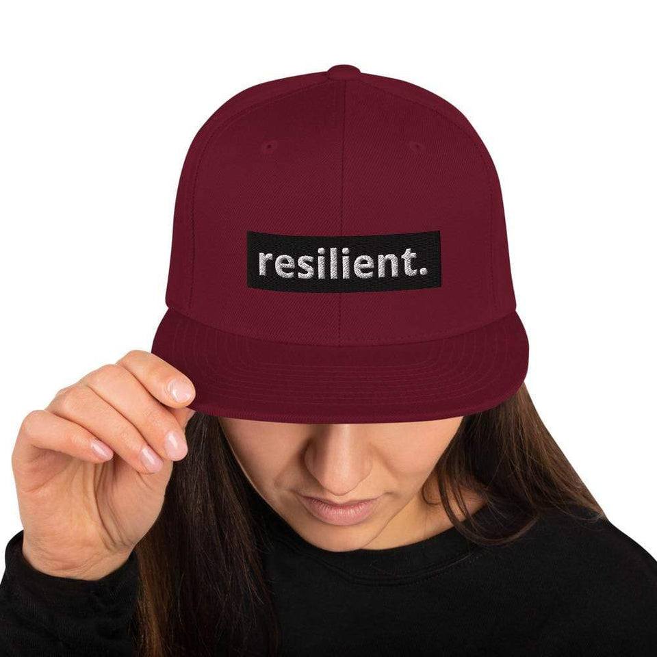Resilient Snapback Hat Maroon Political-Activist-Socialist-Fashion -Art-And-Design