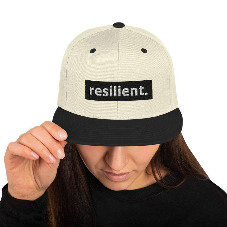 Resilient Snapback Hat Natural/ Black Political-Activist-Socialist-Fashion -Art-And-Design