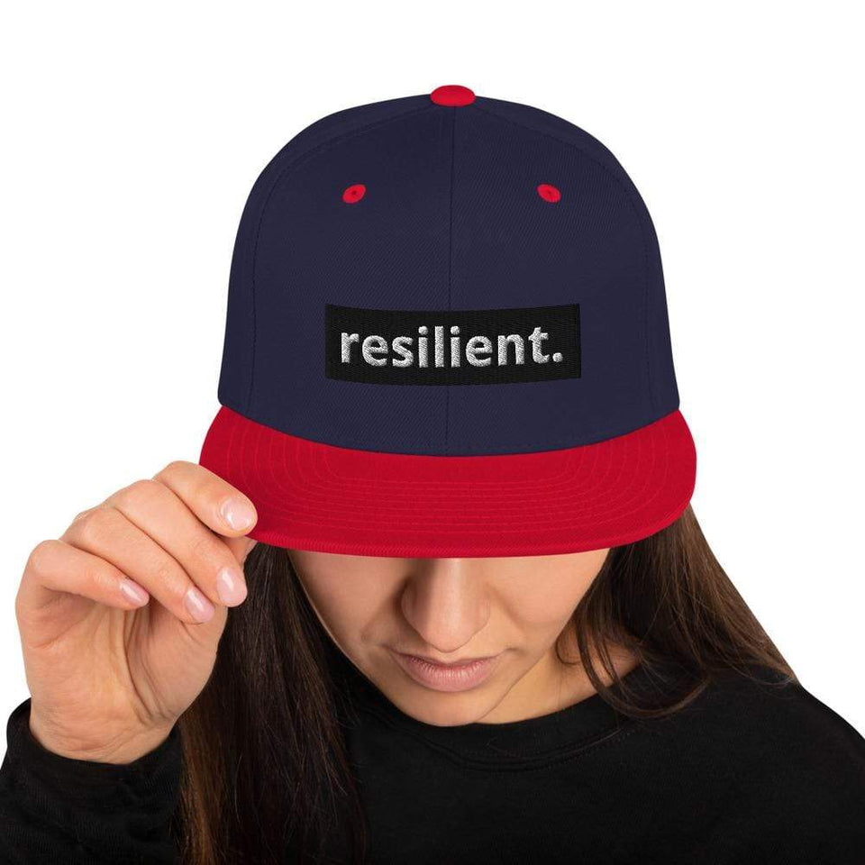 Resilient Snapback Hat Navy/ Red Political-Activist-Socialist-Fashion -Art-And-Design
