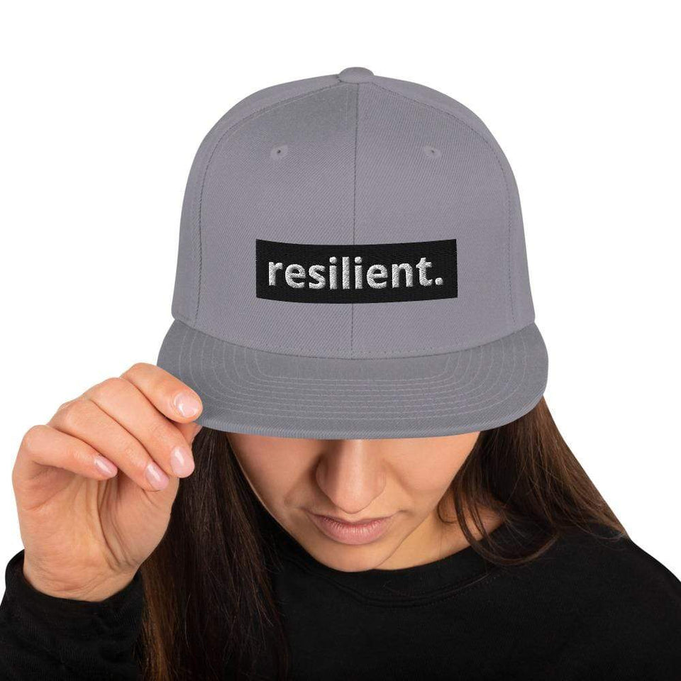 Resilient Snapback Hat Silver Political-Activist-Socialist-Fashion -Art-And-Design