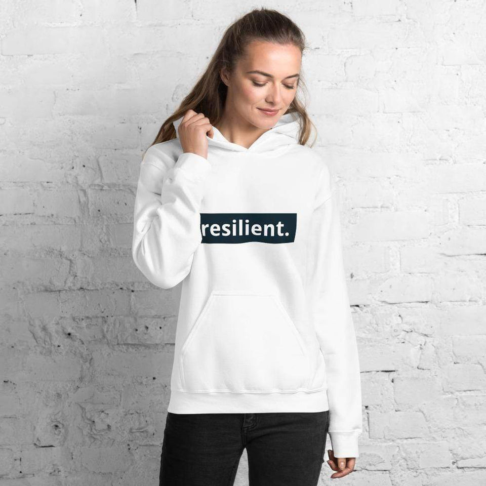Resilient Hoodie White / S Political-Activist-Socialist-Fashion -Art-And-Design