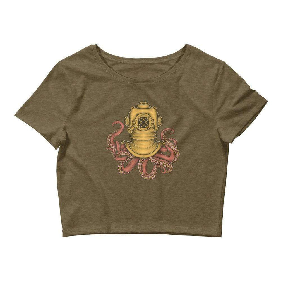 Vintage Octopus Women's Crop Tee Political-Activist-Socialist-Fashion -Art-And-Design