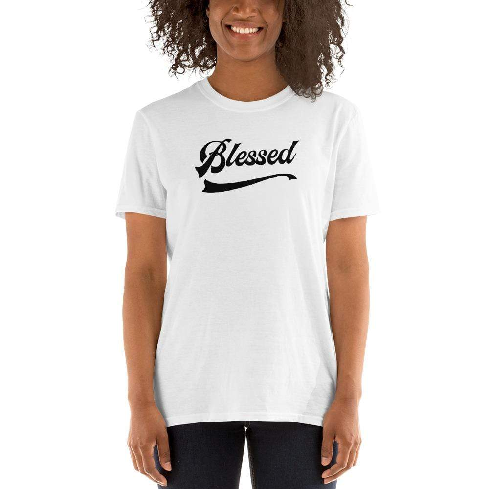 'Too Blessed to Be Stressed' Short-Sleeve Unisex T-Shirt White / S Political Clothing