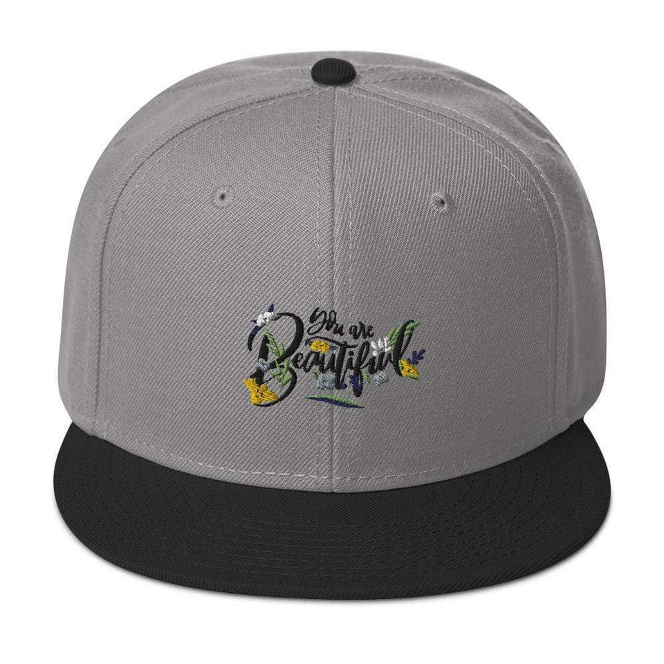 You Are Beautiful Snapback Hat Black / Gray / Gray Political-Activist-Socialist-Fashion -Art-And-Design
