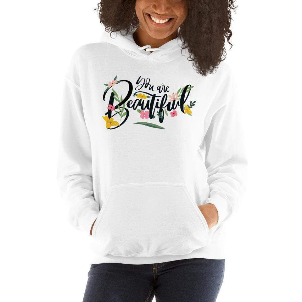 You Are Beautiful Hoodie White / S Political-Activist-Socialist-Fashion -Art-And-Design