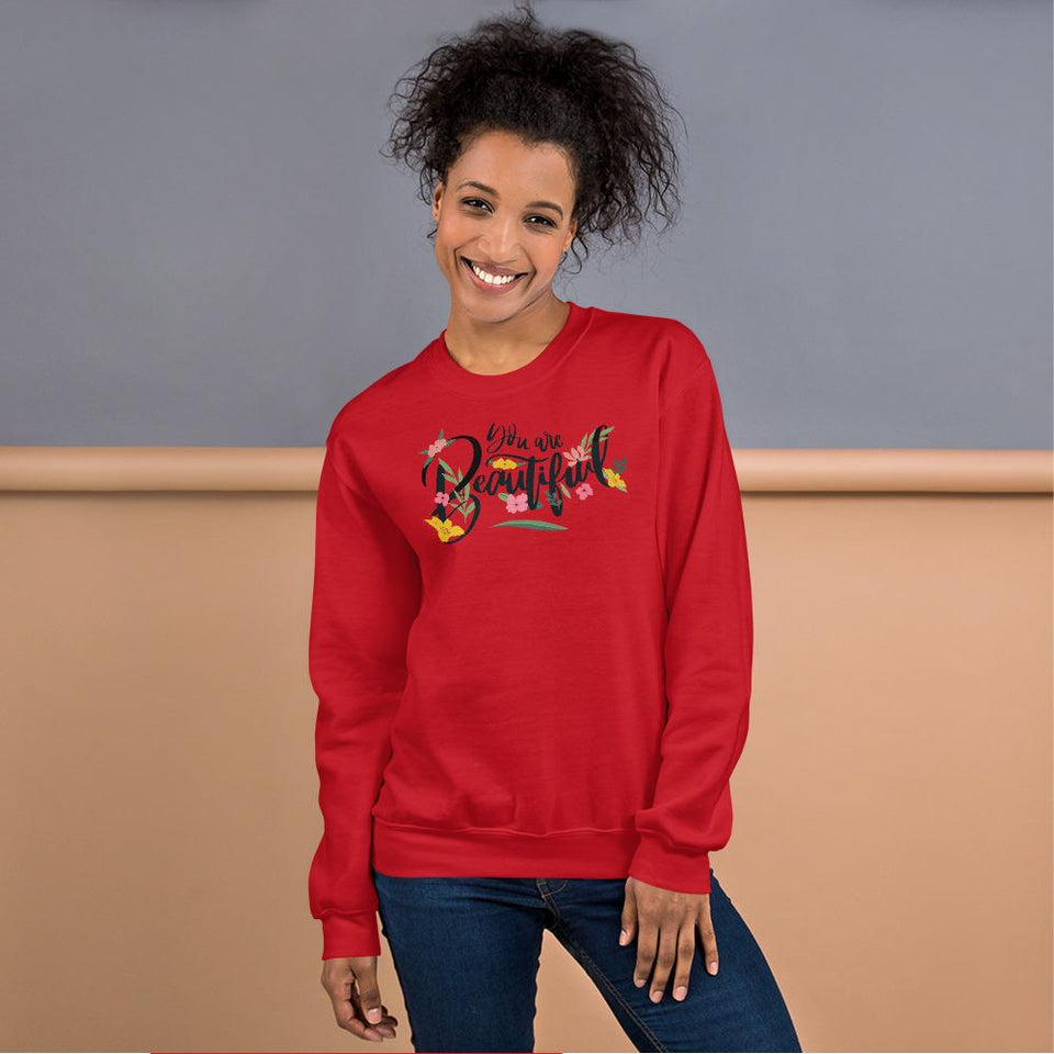 You Are Beautiful Sweatshirt Red / S Political-Activist-Socialist-Fashion -Art-And-Design