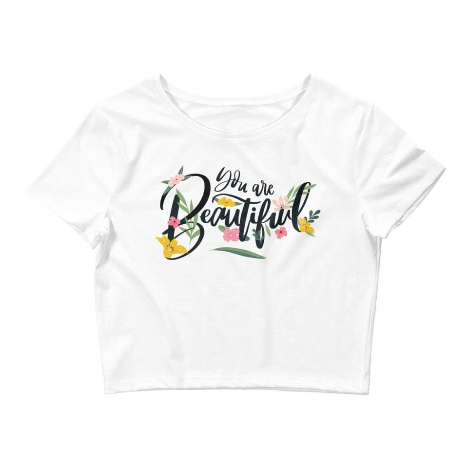 You Are Beautiful Crop Tee White / XS/SM Political-Activist-Socialist-Fashion -Art-And-Design