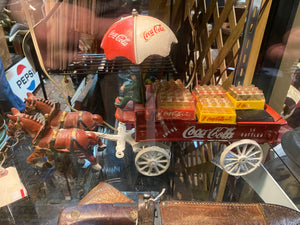 Metal Coca-Cola horse and waggon