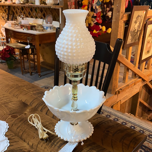 Vintage mid century white hobnail milk glass lamp electric and tested.