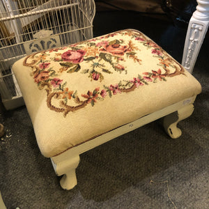 Floral needlepoint footstool