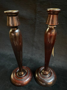 Antique wooden candle holders (pair)