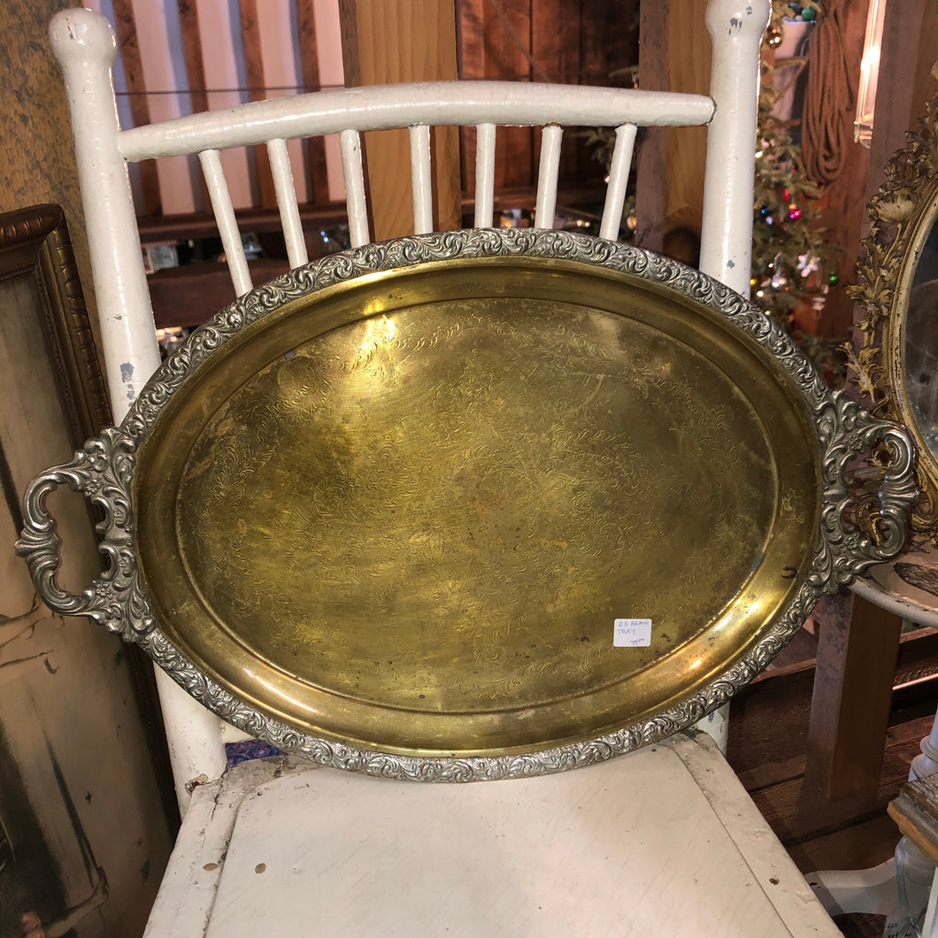 Heavy oval brass tray