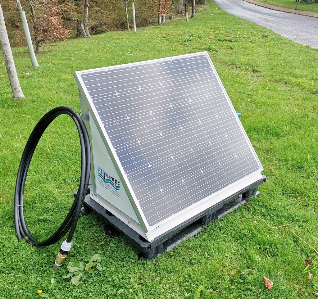 On demand Solar / Battery Pump watering system for single or multiple outlets.