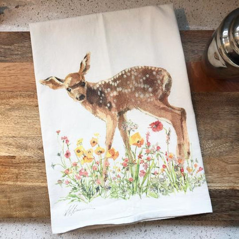 Fawn in Wildflowers Flour Sack Tea Towel
