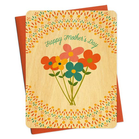 Wood Card, Mother's Day Wildflowers