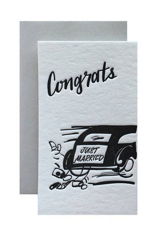 Mini Flat Card Wedding Limo Congrats