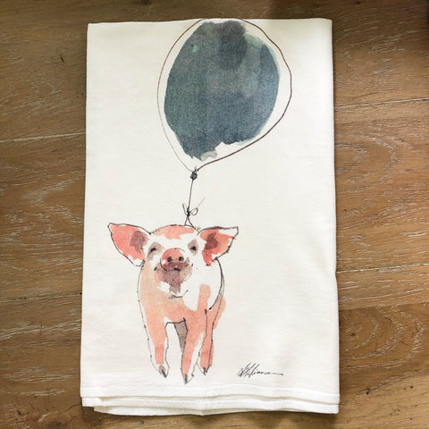 Piggy Balloon Flour Sack Tea Towel