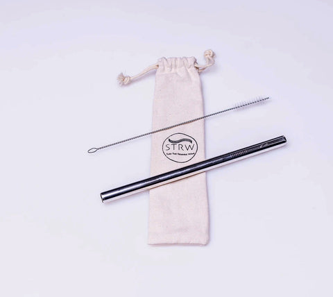 Reusable Straight Straw Set Silver