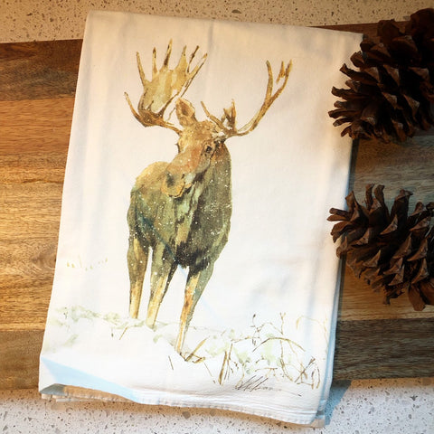 Moose In Snow Flour Sack Tea Towel