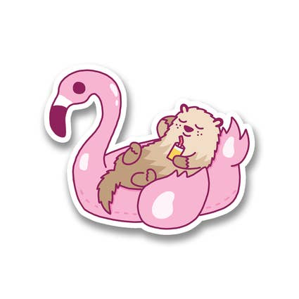 Flamingo Floating Otter Sticker