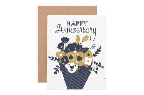 Anniversary Flower Bouquet Seeded Card