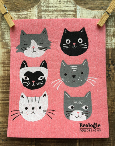 Swedish Dishcloths, Cats on Pink