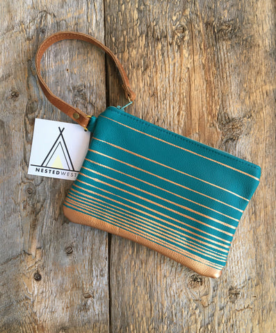 Leather Wristlet, Marine Blue