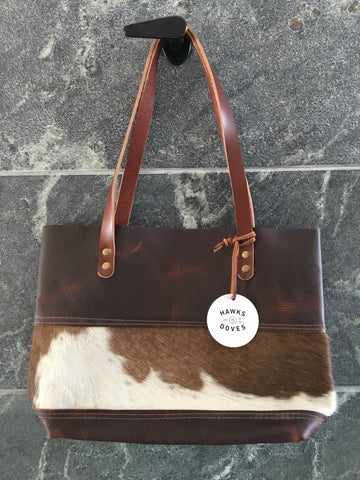 Short Tote Cowhide Panel, Brown & White