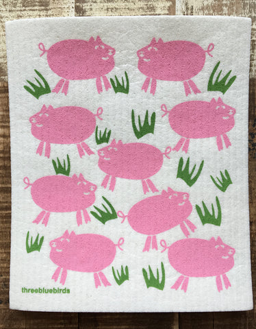 Swedish Dish Cloth, Pink Pigs