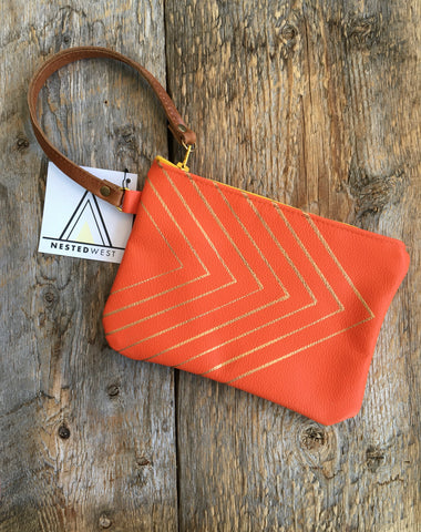 Leather Wristlet, Orange