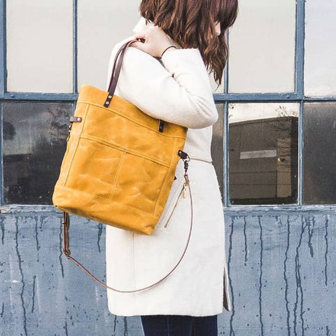 Waxed Canvas Foldover Bag, Marigold