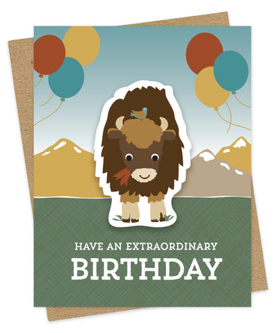 Card, Bison Sticker Happy Birthday