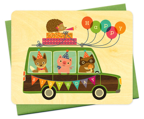 Wood Card, Party Birthday Wagon