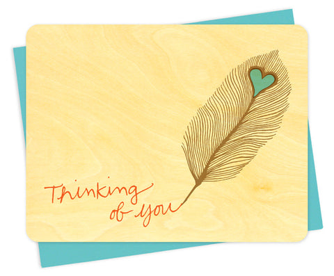 Wood Card, Feather Thinking of You