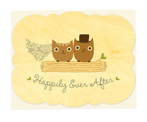 Wood Card, Mr & Mrs Hoot Congratulations