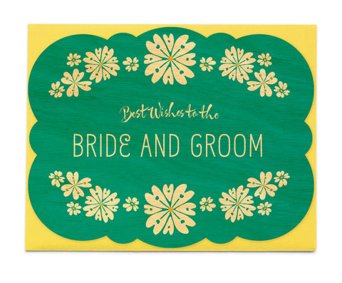 Wood Card, Wedding Green Bride & Groom