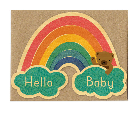Wood Card, Baby Rainbow Congrats