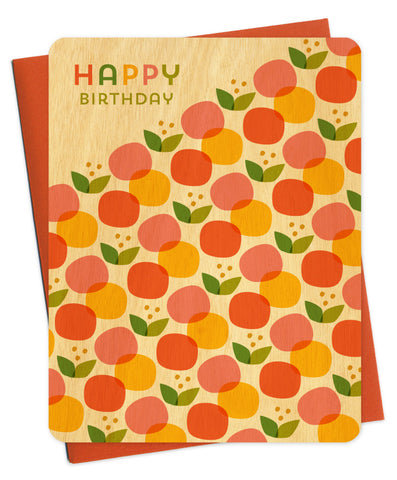 Wood Card, Happy Birthday Citrus Pop