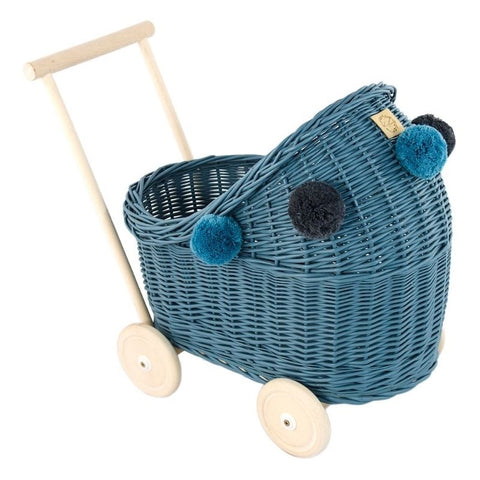 Image of Rieten Poppenwagen | Dusty Blue | Lilu