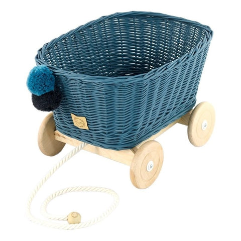 Rieten Trekwagen | Dusty Blue | Lilu