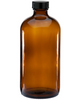 16 oz Amber Glass Boston Round Bottle (1 Pack)