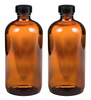 16 oz Amber Glass Boston Round Bottle (2 Pack)