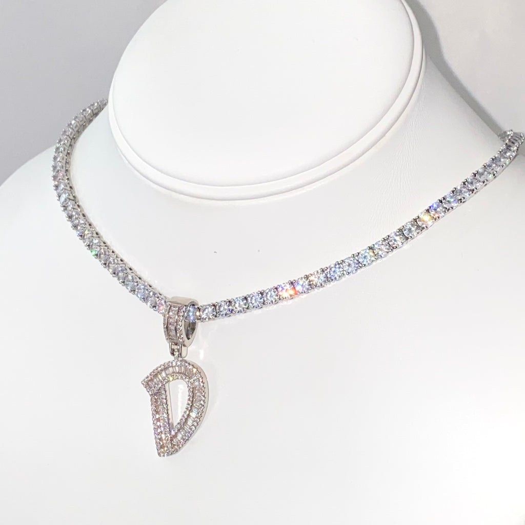 Silver Baguette Initial Tennis Necklace - One of Sevyn Collection